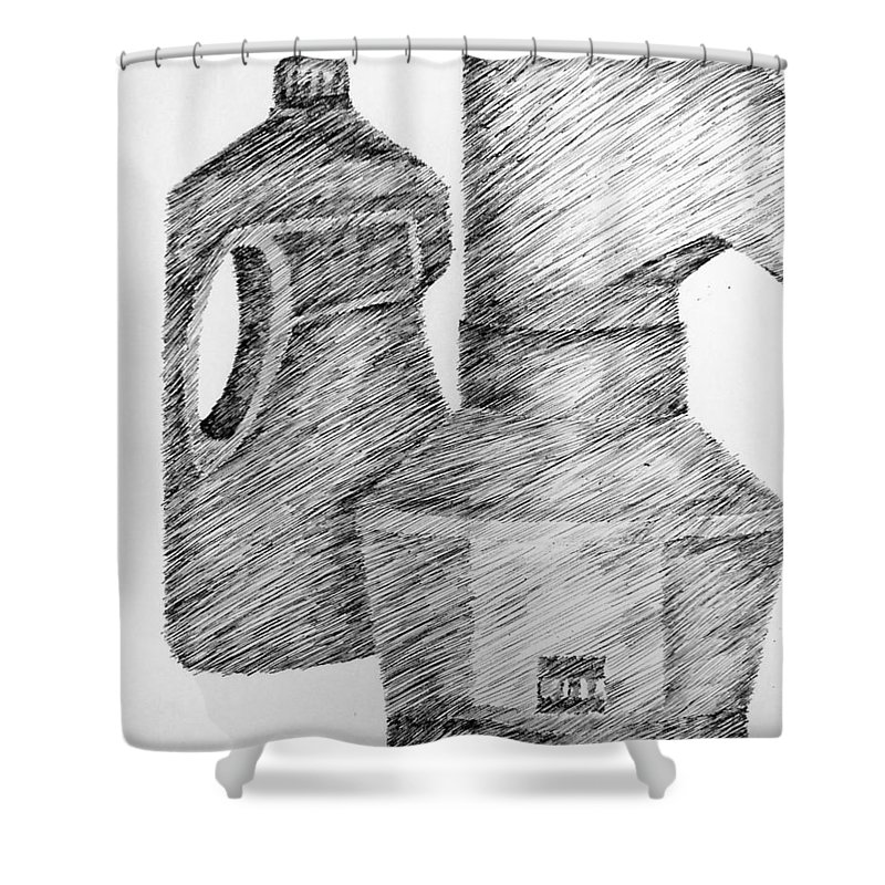 Still Life Shower Curtain featuring the drawing Still Life With Popcorn Maker And Laundry Soap Bottle by Michelle Calkins