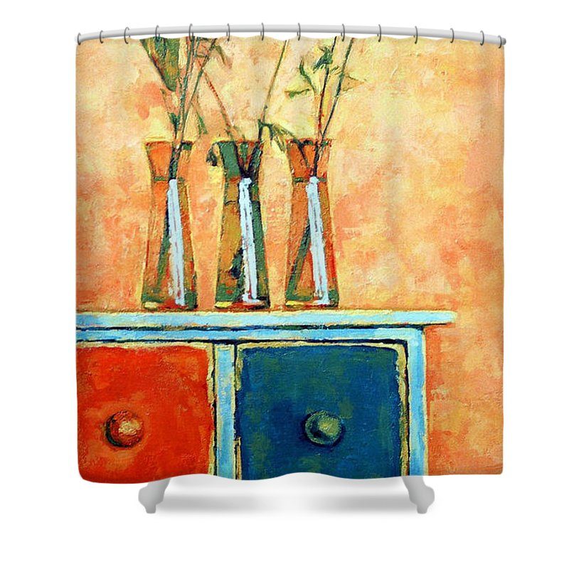 Poppies Shower Curtain featuring the painting Still Life With Poppies by Iliyan Bozhanov