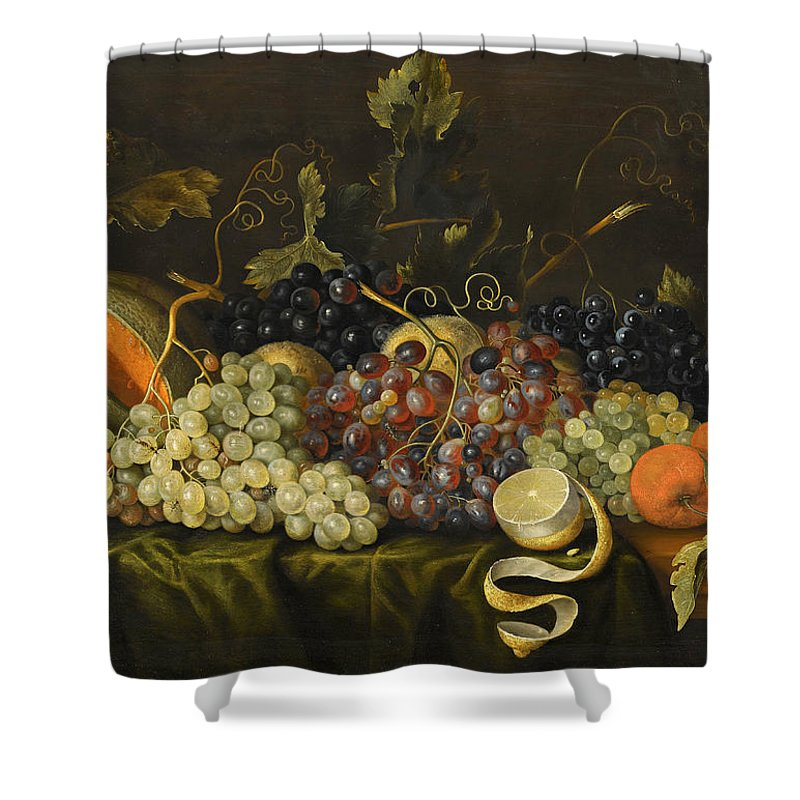 Jacob Marrel Shower Curtain featuring the painting Still Life With Red Black And Green Grapes by Jacob Marrel