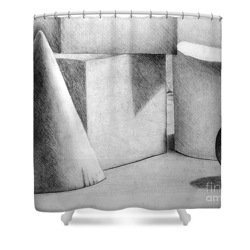 Drawing Shower Curtain featuring the drawing Still Life With Shapes by Nancy Mueller