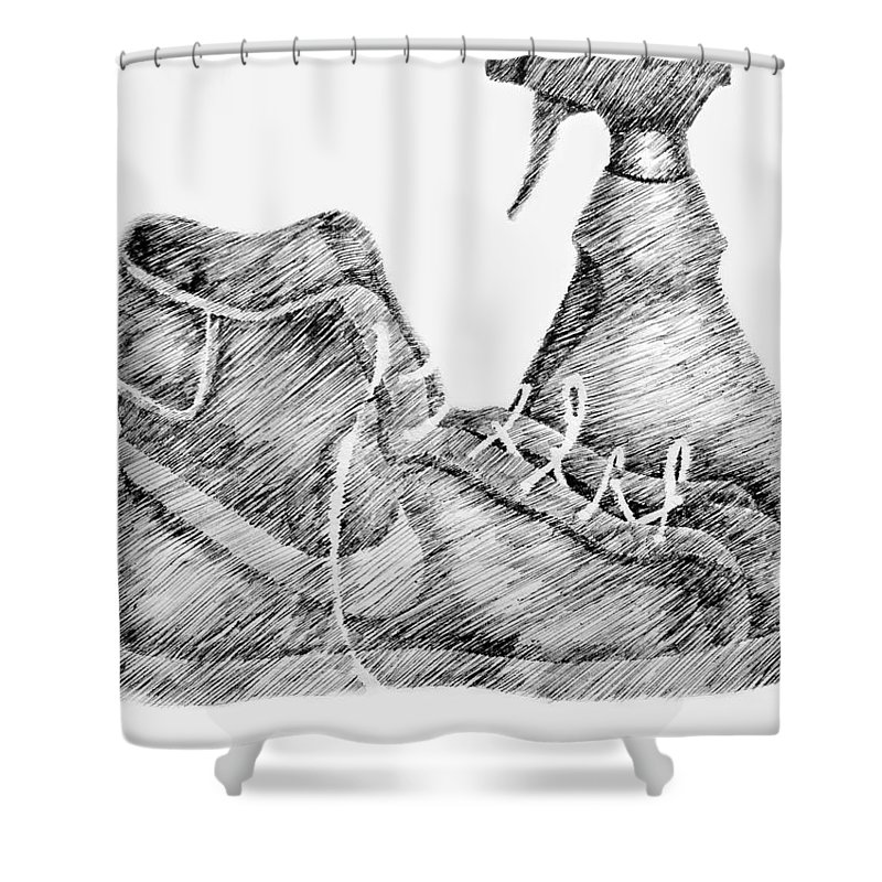 Pen Shower Curtain featuring the drawing Still Life With Shoe And Spray Bottle by Michelle Calkins