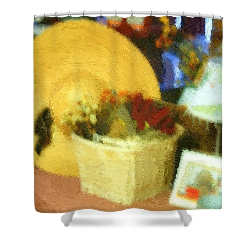 Basket Shower Curtain featuring the digital art Still Life With Straw Hat by RC DeWinter
