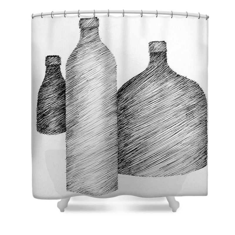 Still Life Shower Curtain featuring the drawing Still Life With Three Bottles by Michelle Calkins