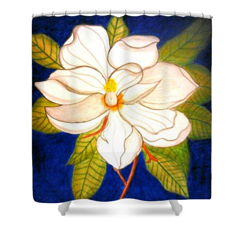 Shower Curtain featuring the drawing Still Magnolia by Precious Cannon