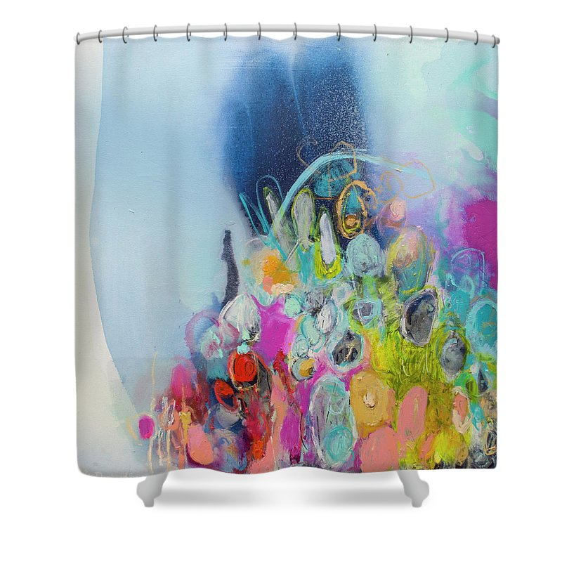 Abstract Shower Curtain featuring the painting Still Playing by Claire Desjardins