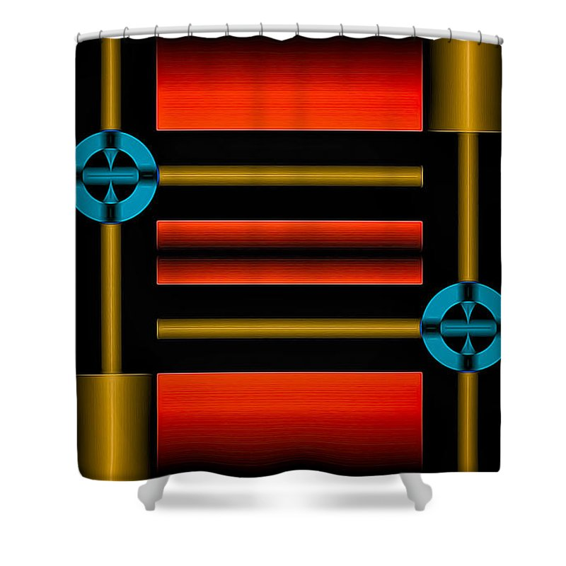 Abstract Shower Curtain featuring the digital art Still Points by Rick Baker