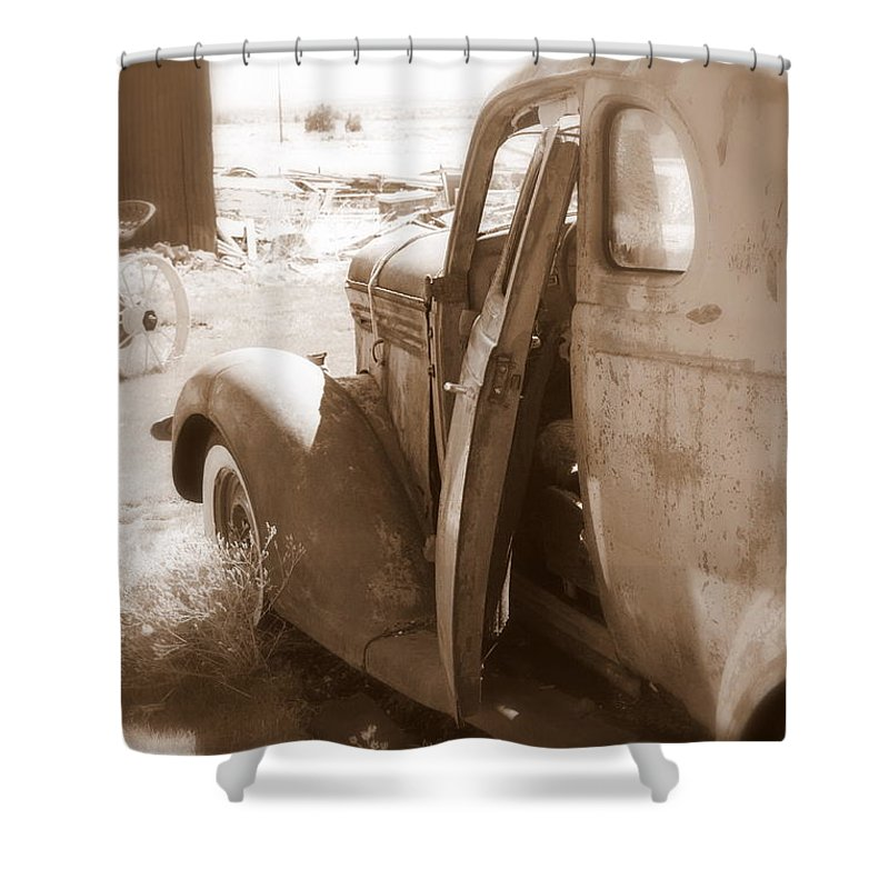 Disrepair Shower Curtain featuring the photograph Still Waiting On Repairs by Carol Groenen