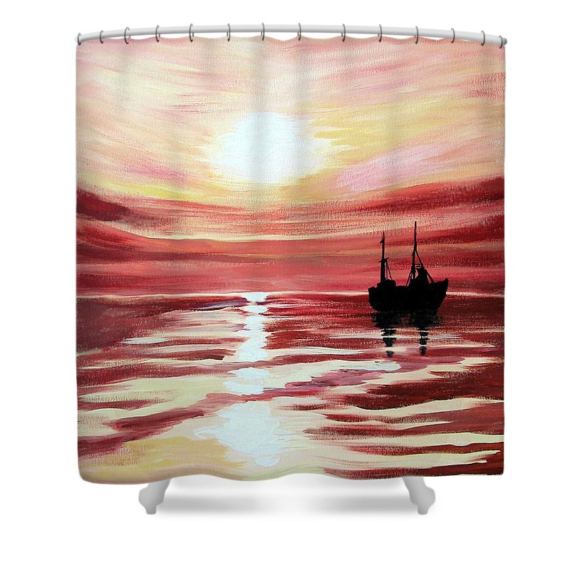 Seascape Shower Curtain featuring the painting Still Waters Run Deep by Marco Morales
