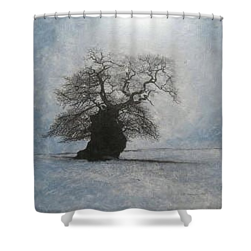 Silhouette Shower Curtain featuring the painting Stilton Silhouette by Leah Tomaino