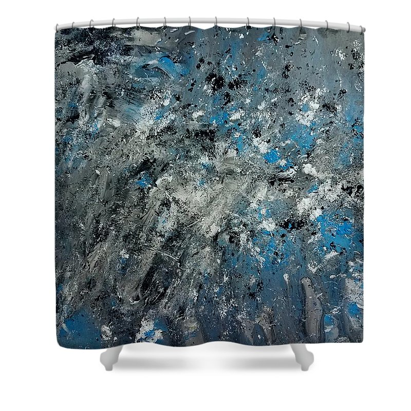 Splatter Shower Curtain featuring the painting Stir Crazy by Nicole Clark