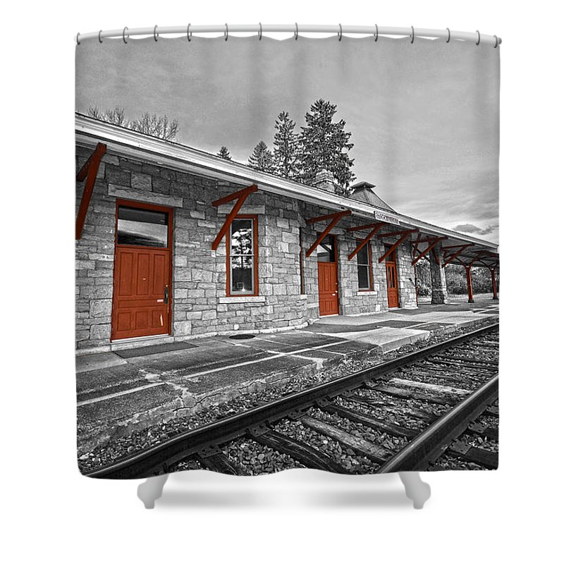 Trains Shower Curtain featuring the photograph Stockbridge Train Station by Andrea Swiedler