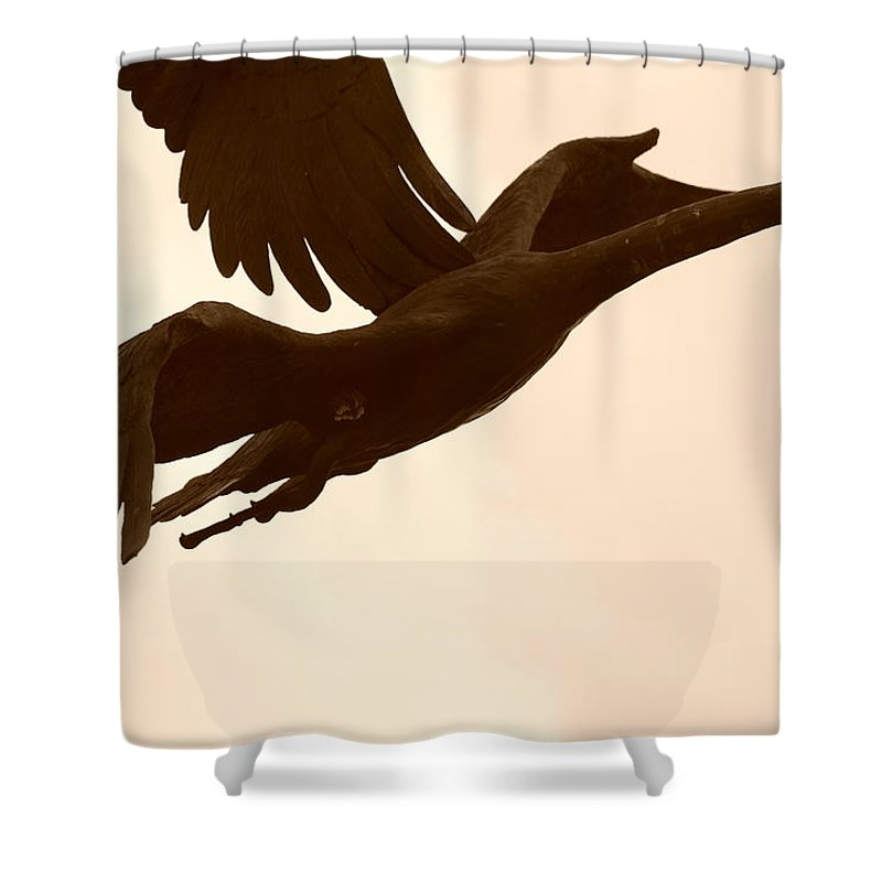 Sepia Shower Curtain featuring the photograph Stone Birds by Rob Hans