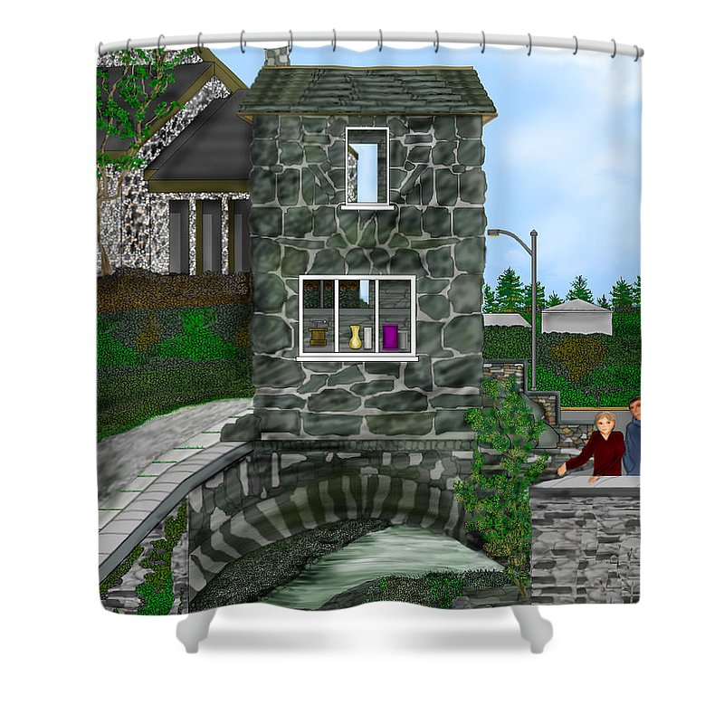 Landscape Shower Curtain featuring the painting Stone Bridge House In The Uk by Anne Norskog