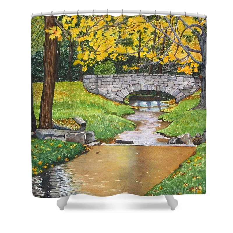 Landscape Shower Curtain featuring the painting Stone Bridge by Sharon Farber