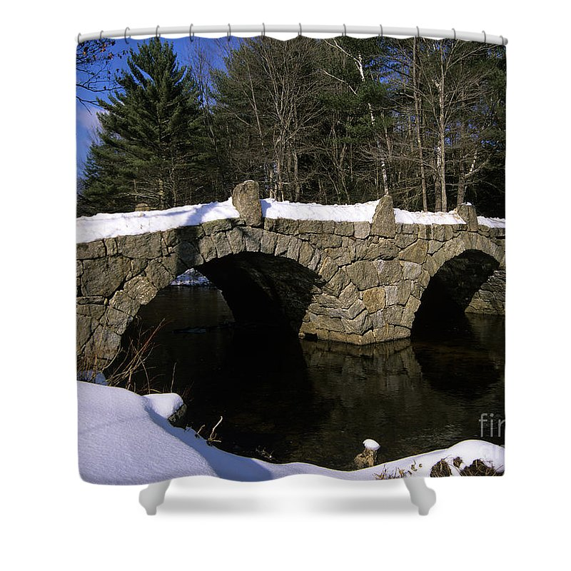 Bridge Shower Curtain featuring the photograph Stone Double Arched Bridge - Hillsborough New Hampshire Usa by Erin Paul Donovan