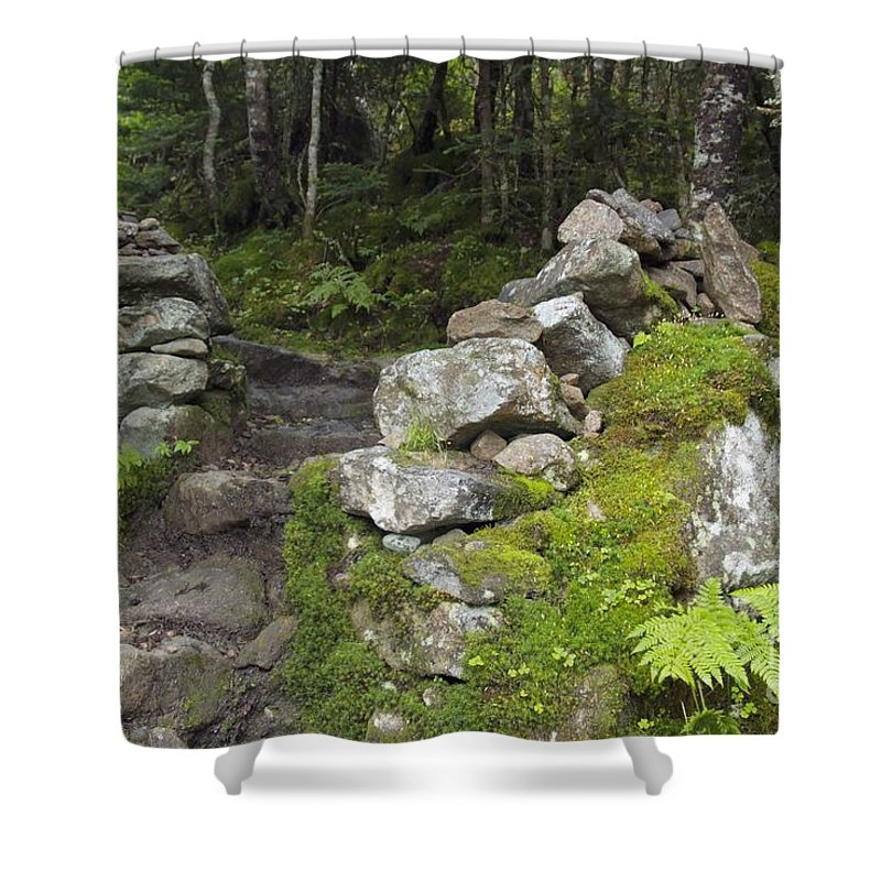 Stonewall Shower Curtain featuring the photograph Stone Gate - Edmands Path - White Mountains New Hampshire by Erin Paul Donovan