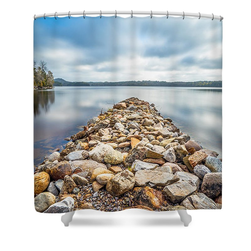 Lake Shower Curtain featuring the photograph Stone Jetty by James Billings