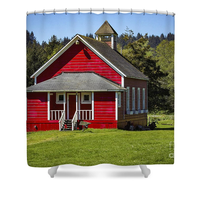 Little Red Schoolhouse Shower Curtains Little Red