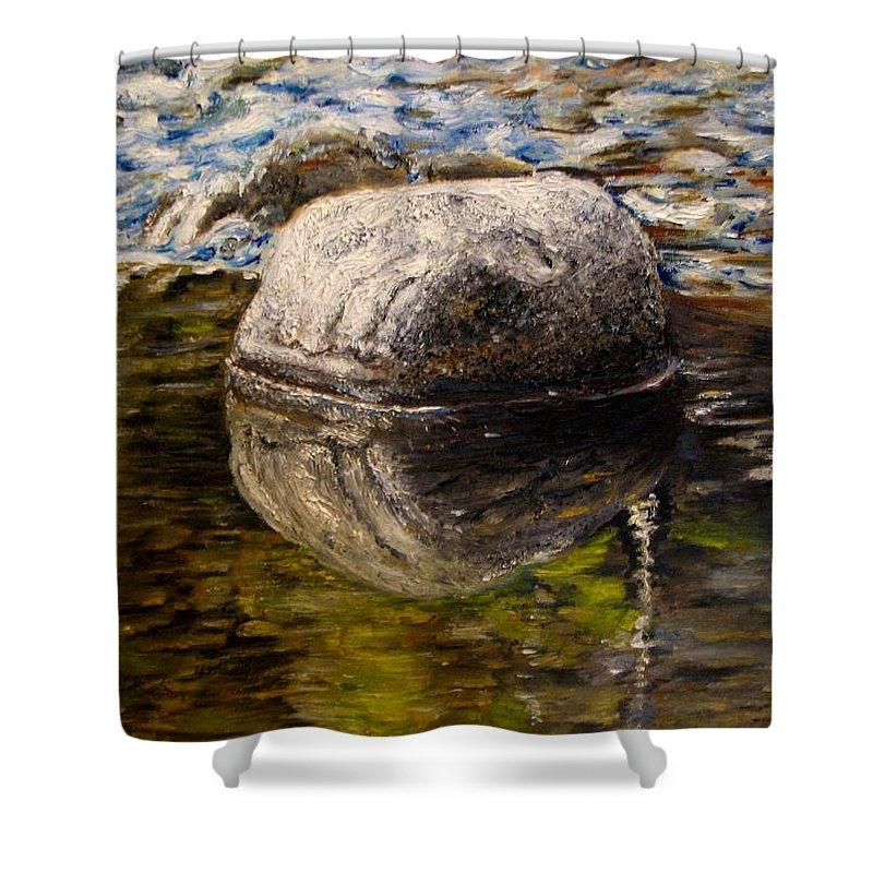 Original Painting Shower Curtain featuring the painting Stone landscape original oil painting by Natalja Picugina