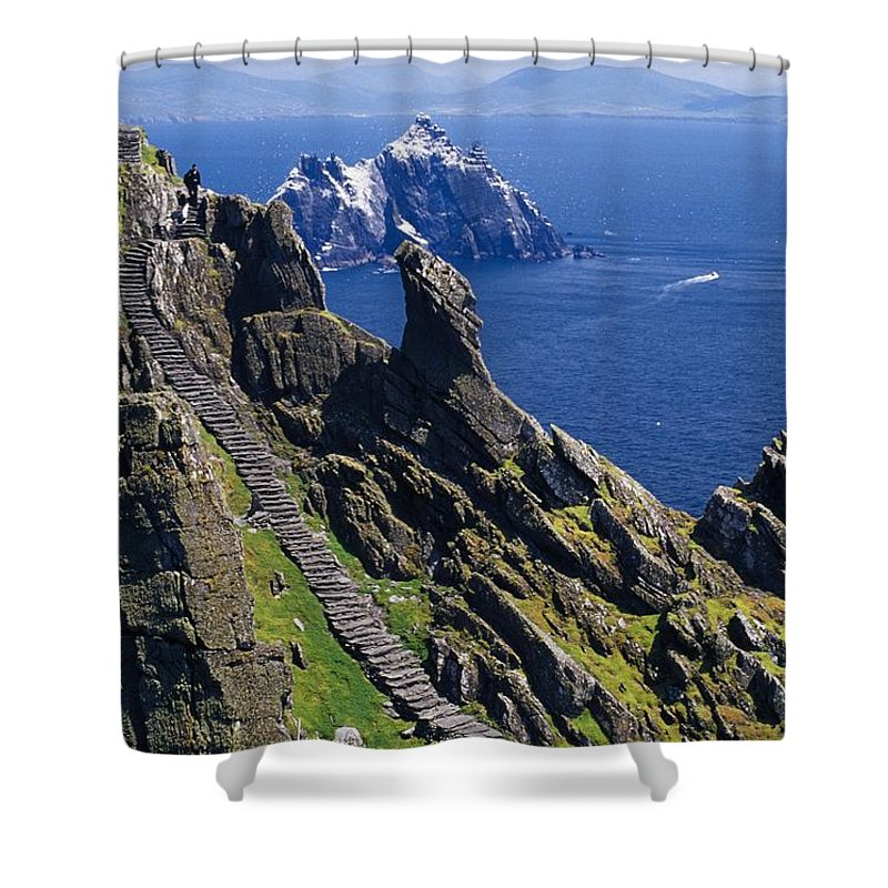 Coastal Shower Curtain featuring the photograph Stone Stairway, Skellig Michael by Gareth McCormack