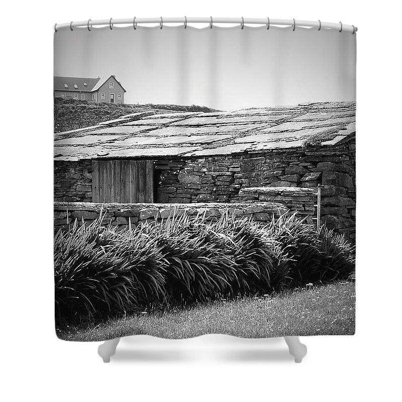 Irish Shower Curtain featuring the photograph Stone Structure Doolin Ireland by Teresa Mucha