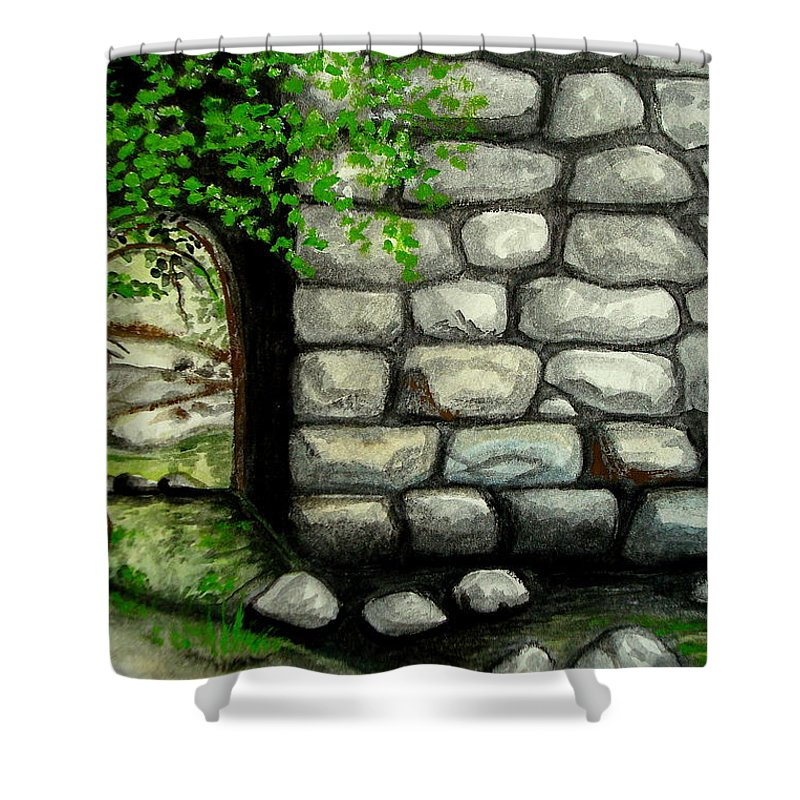 Landscape Shower Curtain featuring the painting Stone Tunnel by Elizabeth Robinette Tyndall