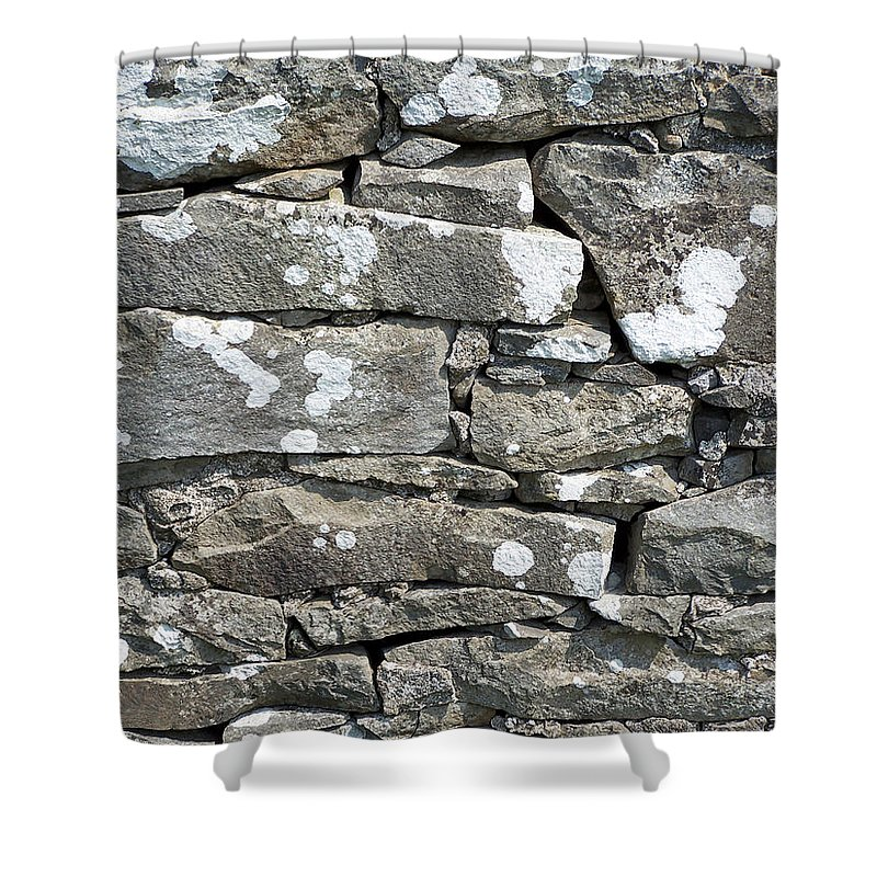 Irish Shower Curtain featuring the photograph Stone Wall Detail Doolin Ireland by Teresa Mucha