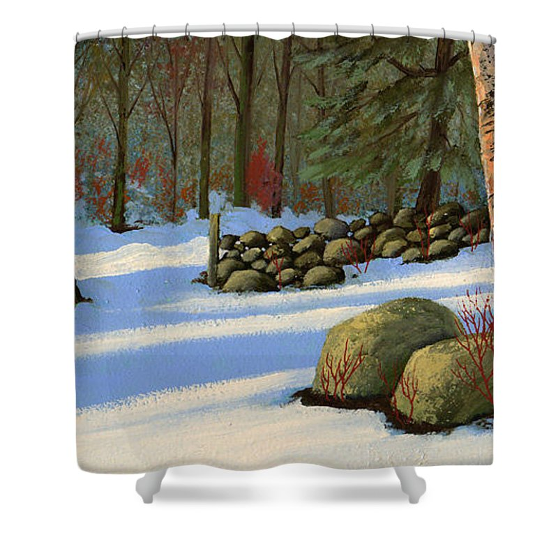 Landscape Shower Curtain featuring the painting Stone Wall Gateway by Frank Wilson