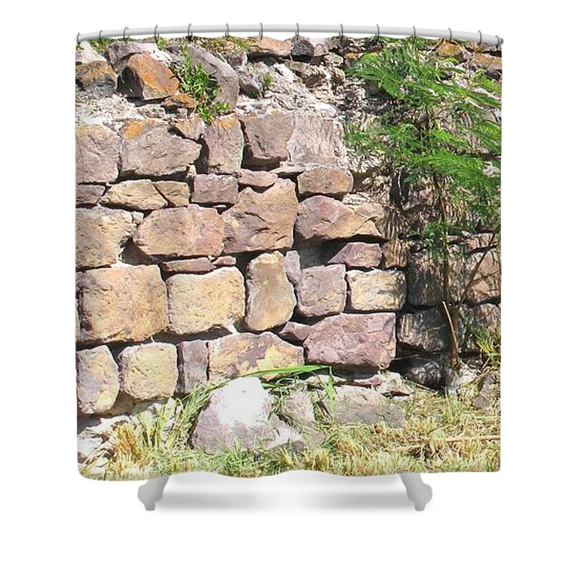 Stone Wall Shower Curtain featuring the photograph Stone Wall by Ian MacDonald