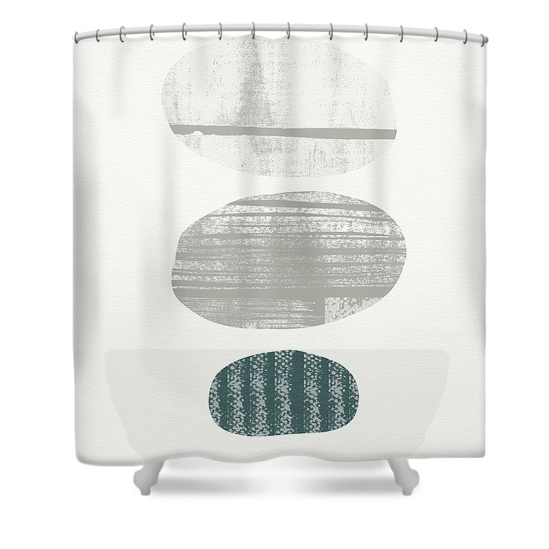 Modern Shower Curtain featuring the painting Stones 3- Art By Linda Woods by Linda Woods