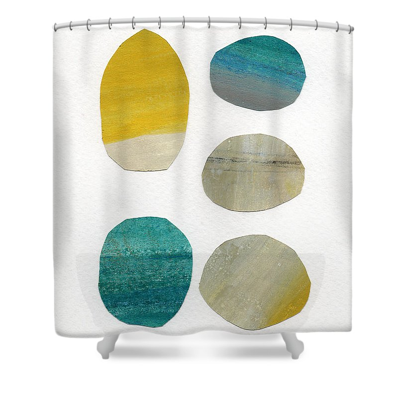 Abstract Art Shower Curtain featuring the mixed media Stones- Abstract Art by Linda Woods