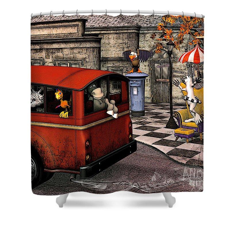 3d Shower Curtain featuring the digital art Stop by Jutta Maria Pusl
