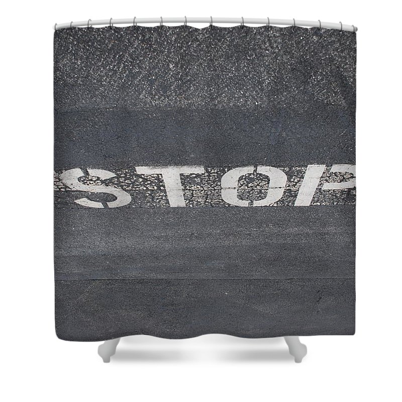 Black And White Shower Curtain featuring the photograph Stop by Rob Hans