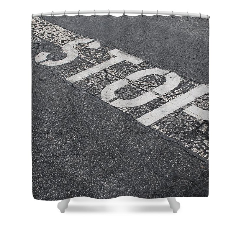 Black And White Shower Curtain featuring the photograph Stop Sign by Rob Hans