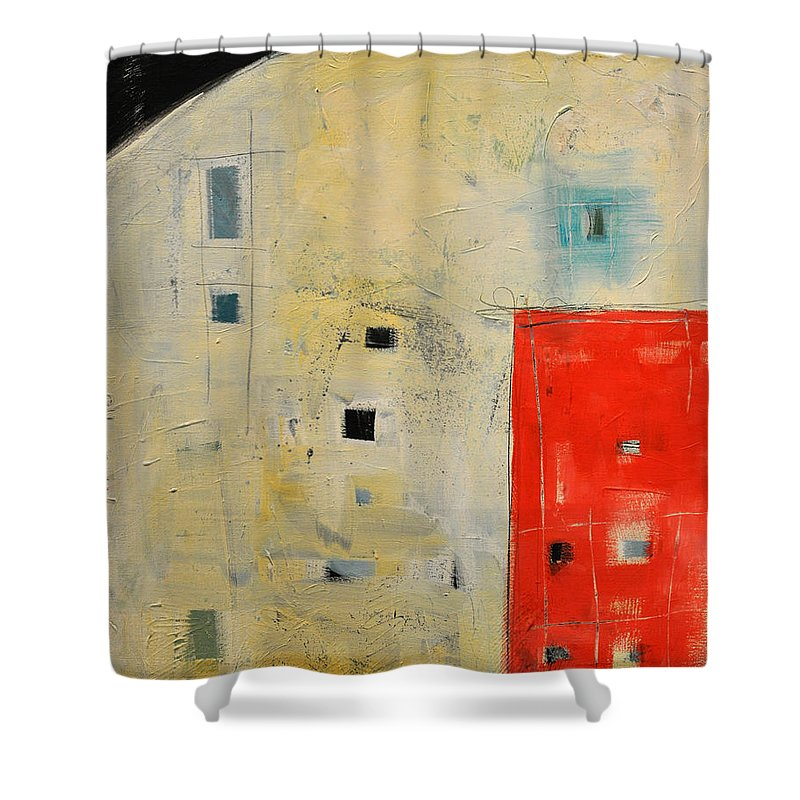 Abstract Shower Curtain featuring the painting Storage Shed by Tim Nyberg