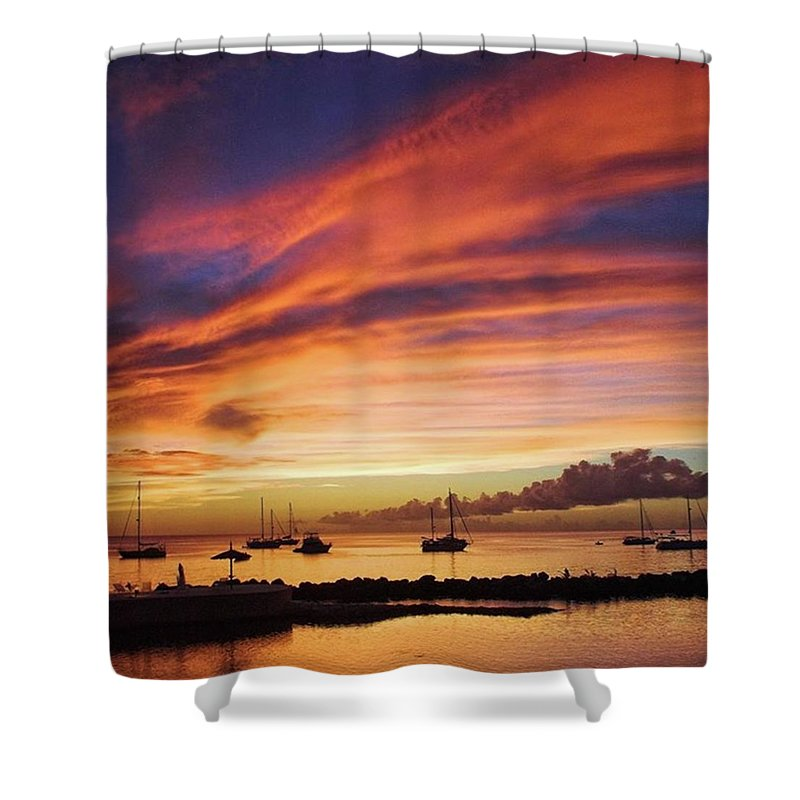 Trinidadandtobago Shower Curtain featuring the photograph Store Bay, Tobago At Sunset #view by John Edwards