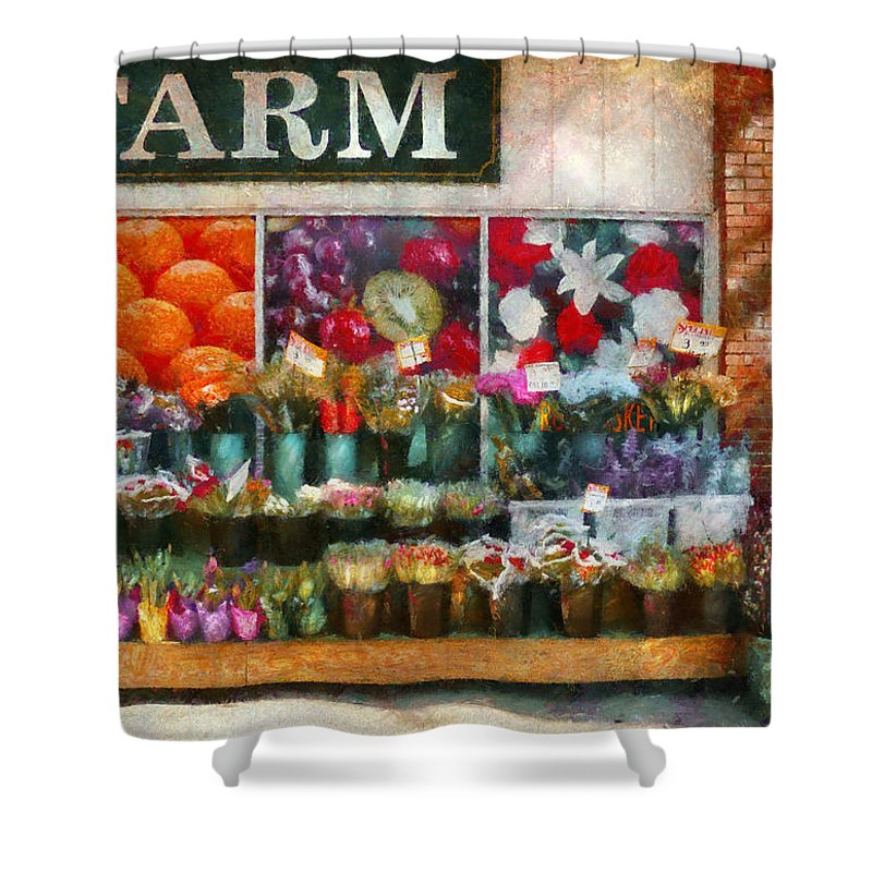 New Jersey Shower Curtain featuring the photograph Store - Westfield Nj - The Flower Stand by Mike Savad