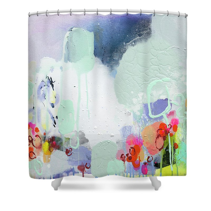 Abstract Shower Curtain featuring the painting Stories by Claire Desjardins