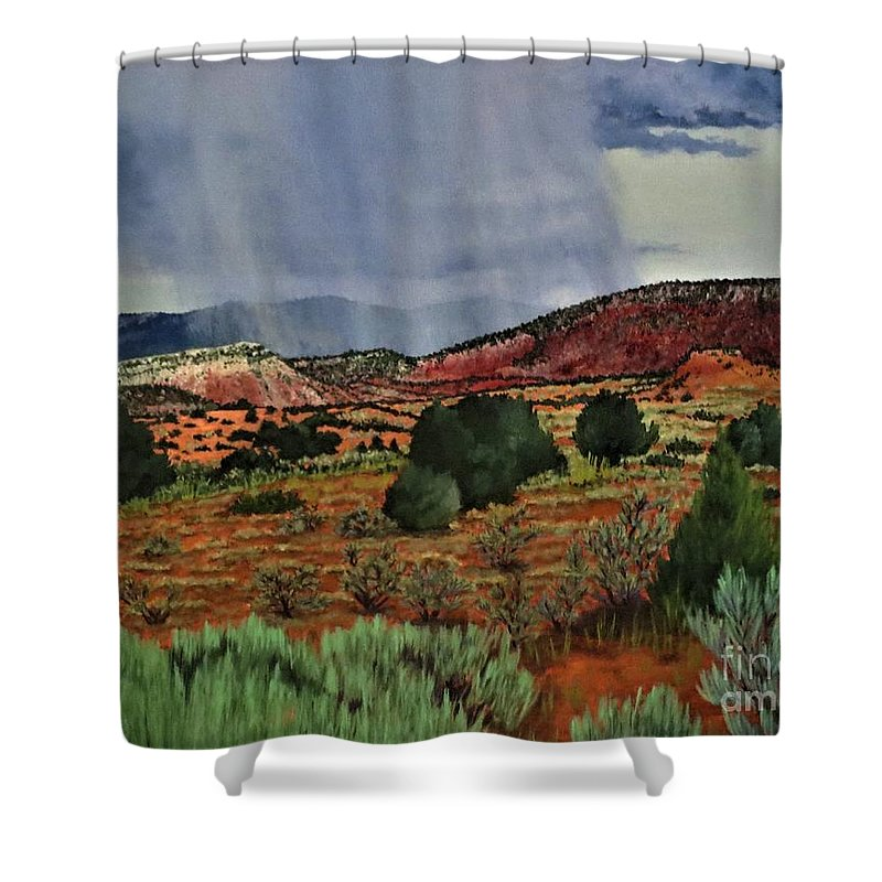 Storm Shower Curtain featuring the painting Storm Approaching The Ridge by Beverly Theriault