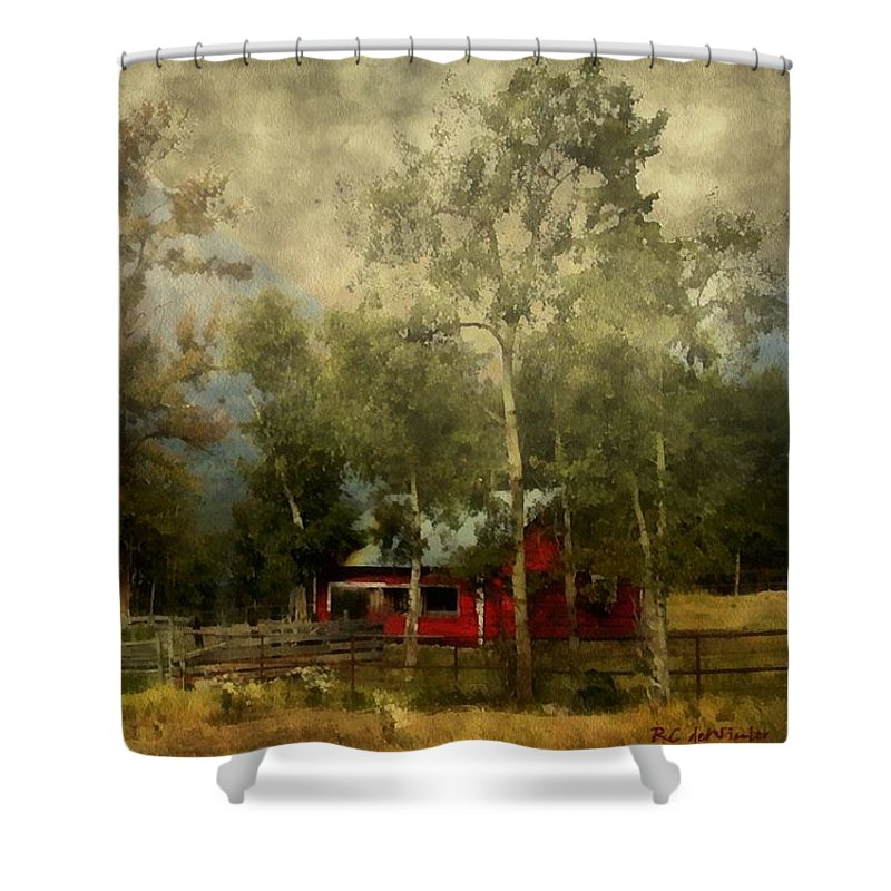 Landscape Shower Curtain featuring the painting Storm Approaching White Birch Cottage by RC DeWinter