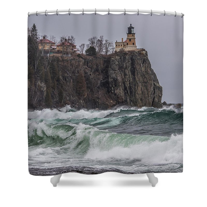 Split Rock Lighthouse Shower Curtain featuring the photograph Storm At Split Rock Lighthouse by Paul Freidlund