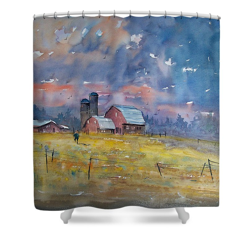 Watercolor Shower Curtain featuring the painting Storm Brewing by Ryan Radke