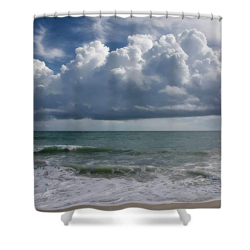 Storm Shower Curtain featuring the photograph Storm Clouds Above The Atlantic Ocean by Zina Stromberg
