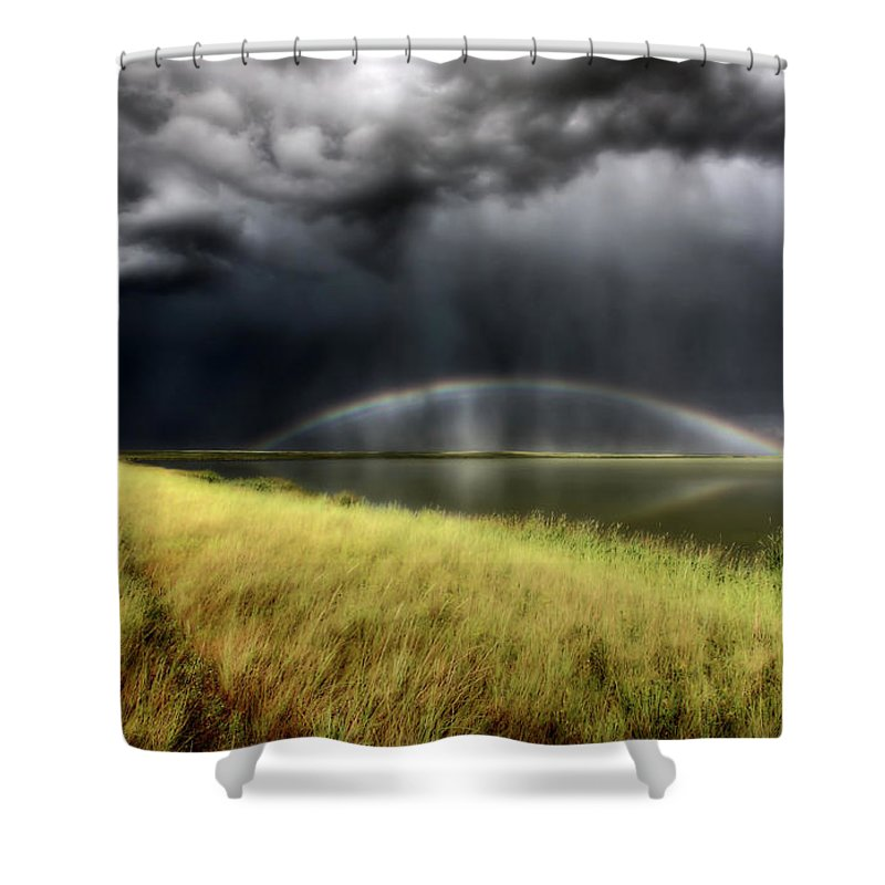 Storm Shower Curtain featuring the digital art Storm Clouds And Rainbow Over Chaplin Lake Marshes by Mark Duffy
