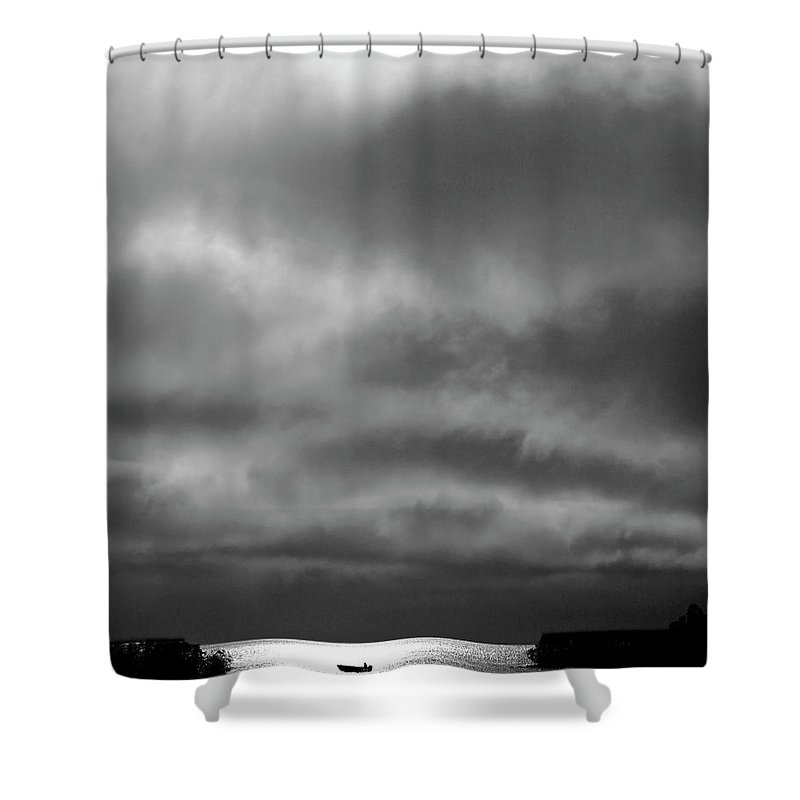 Shower Curtain featuring the digital art Storm Clouds Approaching Boat On Northern Saskatchewan Lake by Mark Duffy