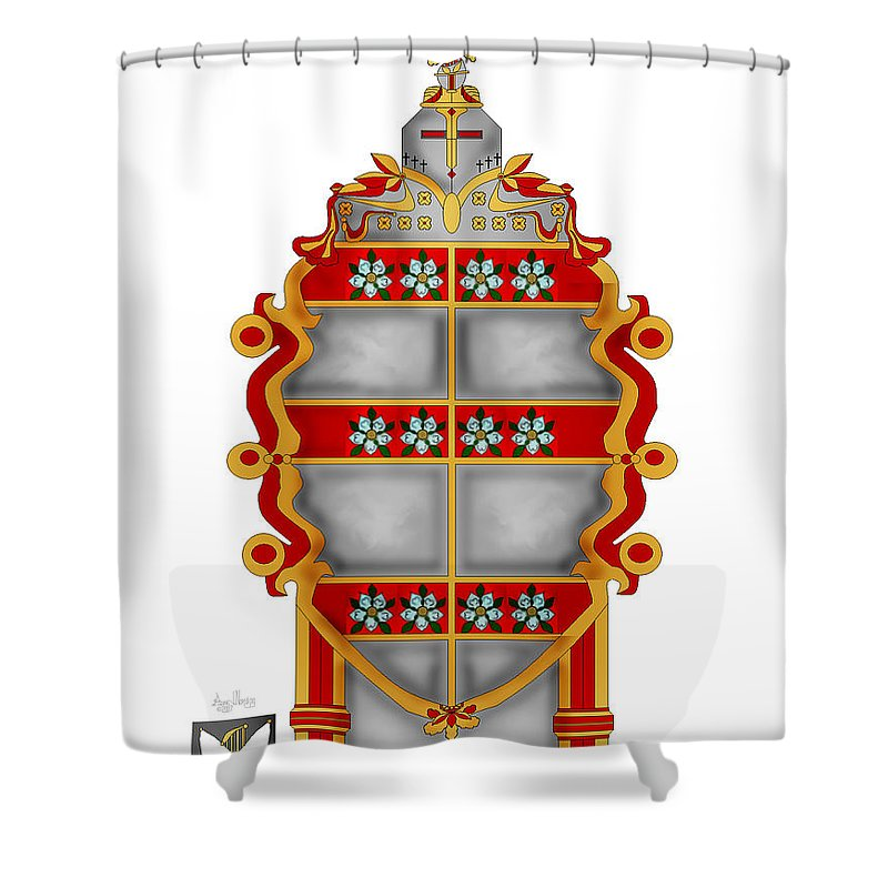 Coat Of Arms Shower Curtain featuring the painting Storm Family Crest by Anne Norskog