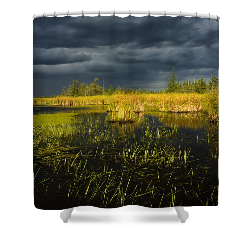 Storm Light Shower Curtain featuring the photograph Storm Light At Patten Lake #1 by Irwin Barrett
