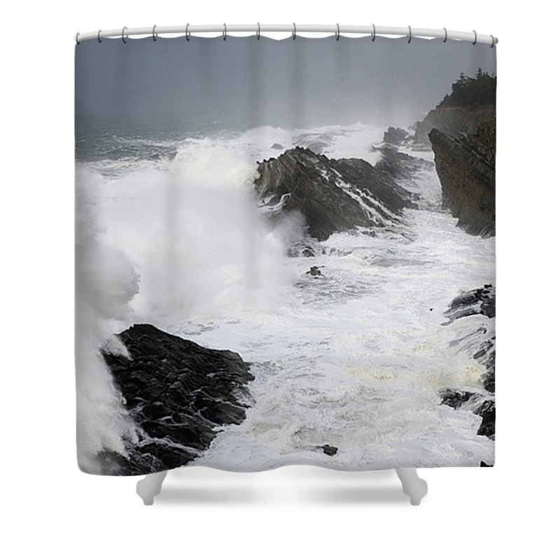 Lighthouse Shower Curtain featuring the photograph Storm On The Oregon Coast 2 by Bob Christopher