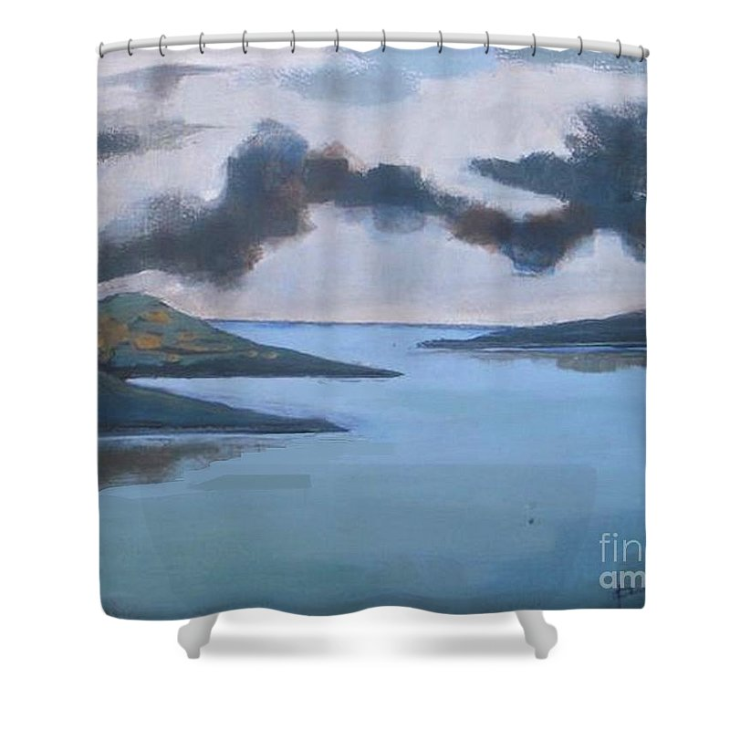 Storm Shower Curtain featuring the painting Storm Over The Lake by Vesna Antic