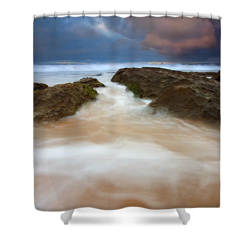 Seascape Shower Curtain featuring the photograph Storm Shadow by Mike Dawson